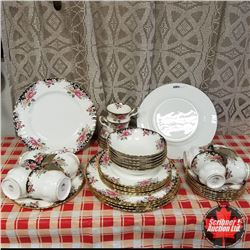 "Royal Albert ""Concerto"" 6 Place Setting (Plates, Tea Cups, Bowls, etc) Note: 4 Coffee Cups"