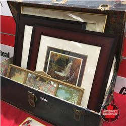 "Blue Tin Trunk Lot: Framed Art (2 - GM Canada Group of Seven Prints) & Framed ""With the Allies"" Stit"
