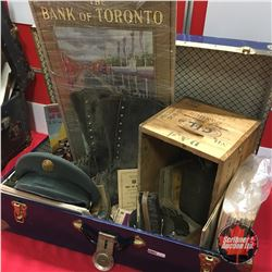 Blue Tin Trunk Lot: Militaria Collection (Uniform Hat, Flask, Belt Buckle, Ration Books, 1947 Bank o