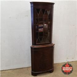 Mahogany Corner Curio Cabinet (72 H x 27 W x 17 D) 1950