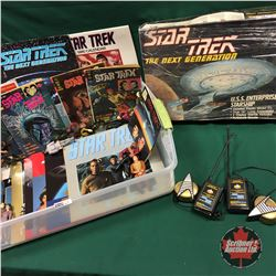 Tote Lot: Star Trek Collection (Comic Books, Calendars, Plastic Model Assy Kit, Communicators, Actio