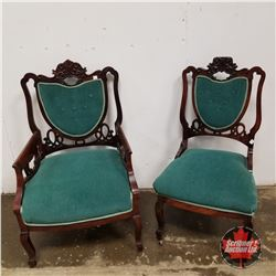 Set of 2 Green Parlor Chairs 1950