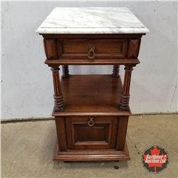 "Marble Top Night Stand (32""H x 16""W x 16""D)"
