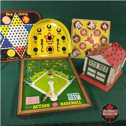 Tin Toy/Game Group (Baseball, Checkers, Garage, etc)