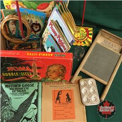 Box Lot: Vintage Girls Toys (Tin Sweepers, Books, Washboard, Tambourine, Baking Pans, etc)