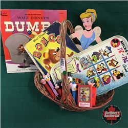 Basket Lot: Disney Items (Dumbo Album, Bongo Book, PEZ, Cinderella, etc)