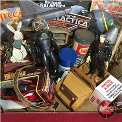 Tray Lot: Vintage/Retro Boys Toys (Battle Star Galactica Group, Comics, Jeep, Snowmobile, etc)