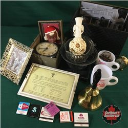 Upholstered Box Lot: Framed Pics, Cups, Bell, Alarm Clock, etc