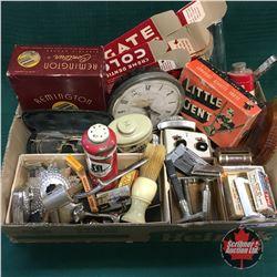 Tray Lot: Mens Combo (Shaving items, Brush, Cuff Links, Clock, etc)