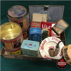 Tobacco Tray Lot : Tins, Ashtrays, Pipe & Tin Humidor