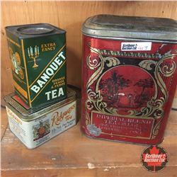 Tea Tins (3) : Banquet, Ridgeways & Imperial Blend Tea Co Ltd