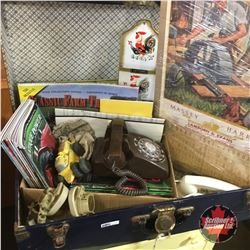 Blue Tin Suitcase Trunk w/Antique Tractor Magazines, Phones, Letter Holders, Massey Harris 1947 Cale