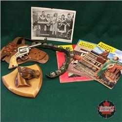 Western Box Lot w/Buffalo Bill Cap Gun, Chalkware Horse Bust, Bells, Magazines, Ray Little Show Phot