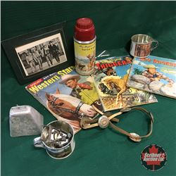 Western Box Lot w/Roy Rogers Thermos &  Books, Bonanza Cups & Photo, Sheep Bell, Belt Buckles, etc