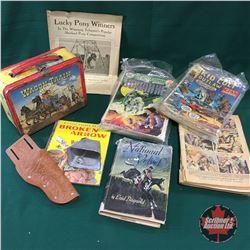 """Wagon Train"" Tin Lunch Box w/Western Comics, Sheep Bell, Books, Holster"