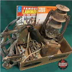 Western Box Lot w/Cow Bells, Barn Lantern, Horse Teeth Floater Speculum, True West & Famous Lawman o