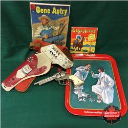 Coca Cola Tray w/Gene Autry Comic Book, Children Book & Cap Gun in Holster