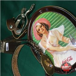 Oval Coca Cola Tray w/Leather Belt, Spurs & Bell