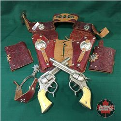Pair of Gene Autry Cap Guns w/Leather Holsters & One Spur
