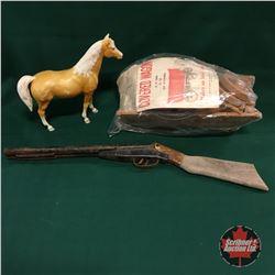 Western Toy Box Lot : Covered Wagon, Horse, Double Barrel Shotgun