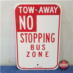 "Sign: Enamel Tow Away No Stopping City L.A. (18""H x 12""W)"