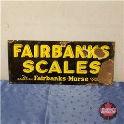 "Sign: Enamel ""Fairbanks Scales""   (10""H x 24""W)"