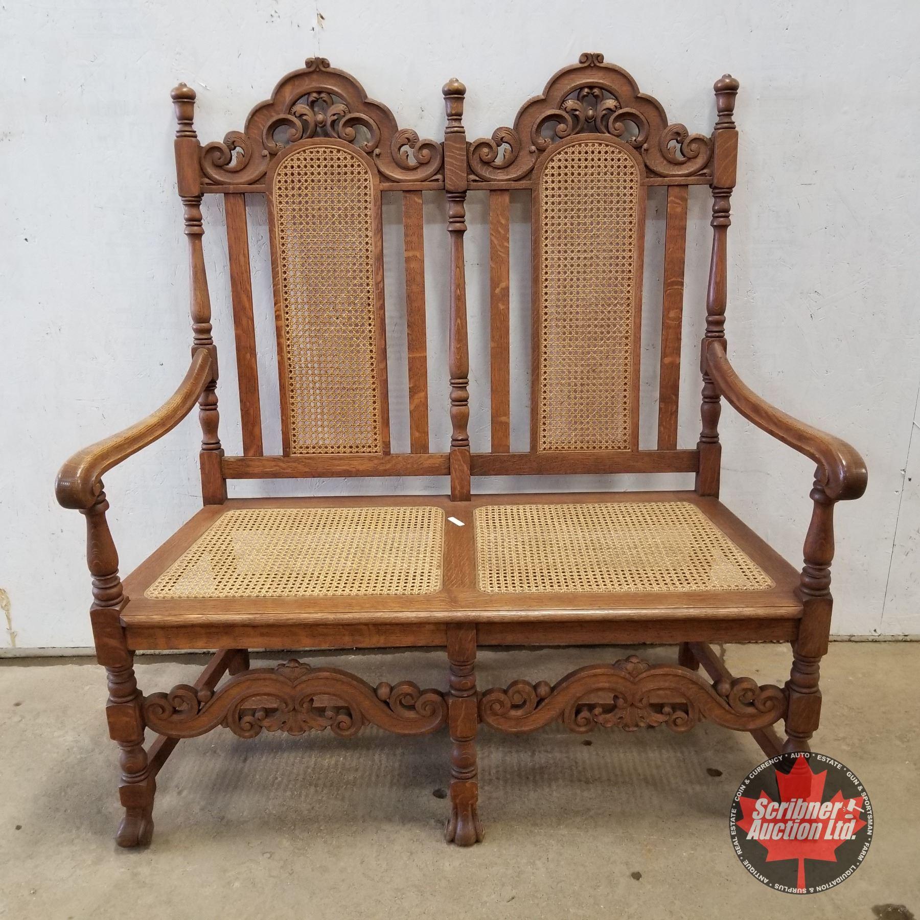 Surprising Oak Cane Hall Seat Bench 1920 50H X 47W X 20D Lamtechconsult Wood Chair Design Ideas Lamtechconsultcom