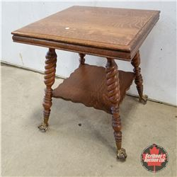 Oak Side Table - Glass Ball & Claw Foot - Barley Twist 1940  (29 H x 24 W x 24 D)