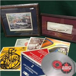 GM Canada Items: Demo Silver Video Discs (5); Framed Picture  Pete's Drive In ; Framed Picture 1972