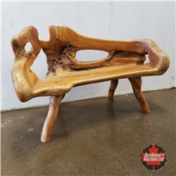 "Teak Log Bench  (53"" L)"