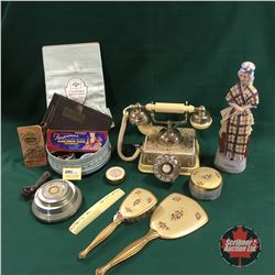 Ladies Combo: Dresser Set, Rotary Phone, Trinket Box, Decanter, Compacts, etc