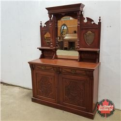 "Buffet w/Bevelled Mirror & Crest Side Mirrors 1950  (76""H x 53""W x 20""D)"