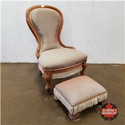 Balloon Back Parlour Chair on Castors 1960 w/Matching Foot Stool (Fringed Upholstery)
