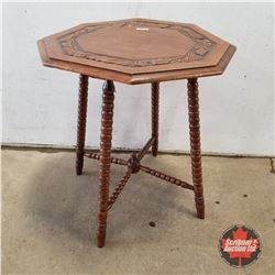 """Oak Side Table 1930 (Uneven Top)  (27""""H x 23""""W x 23""""D)"""