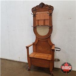 """Oak Hall Seat/Umbrella Stand w/Bevelled Mirror 1920's  (80""""H x 33""""W x 15""""D)"""