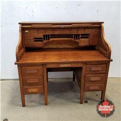 "Oak Roll Top Desk - Finished Back    (50""H x 54""W x 32""D)"