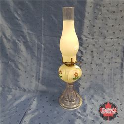 Hand Painted Frosted Oil Lamp 1920