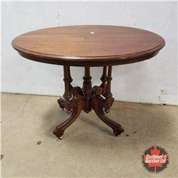 """Parlor Table - Oval on Castors 1925   (30""""H x 39""""W x 27""""D)"""