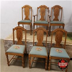 Set of 6 Dining Chairs (Petit Point Seats) 5+1 Arm