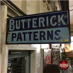 """Butterick Patterns - Enamel Flange Sign  10"""" x 24"""""""