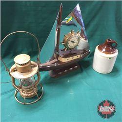 Trio: Ship Clock, Lantern & Jug