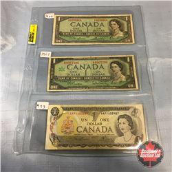 Canada $1 Bills - Sheet of 3: 1954; 1967; 1973