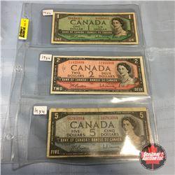Canada Bills - Sheet of 3:  1954 $1;   1954 $2;   1954 $5