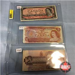 Canada $2 Bills - Sheet of 3: 1954; 1974; 1986