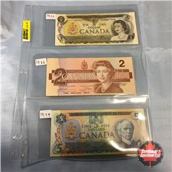 Canada Bills - Sheet of 3:  1973 $1;   1986 $2;   1979 $5