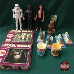 """STAR WARS Vintage Collectibles: Wookie, PEZ (5), Cups (2), Jigsaw Puzzles (2), 12"""" Figurines (3)"""