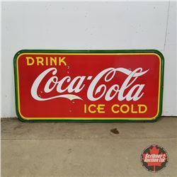"Large Coca-Cola Enamel Sign 1940 (47""H x 95""W)"