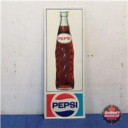 """Tin Sign: Pepsi (Bottle) 1973   (47""""H x 17""""W)"""