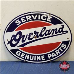 """OVERLAND Service Genuine Parts Double Sided Oval Enamel Sign  (30""""H x 40""""W)"""