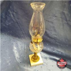 Oil Lamp : Owl & Shield Flint Glass Marble Base 1865